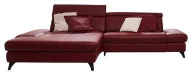 WOHNLANDSCHAFT in Leder Rot  - Rot/Alufarben, Design, Leder/Metall (184/316cm) - Cantus