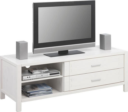 TV-ELEMENT Kiefer vollmassiv Weiß - Alufarben/Weiß, Design, Holz/Metall (140/48,5/49,5cm) - Linea Natura