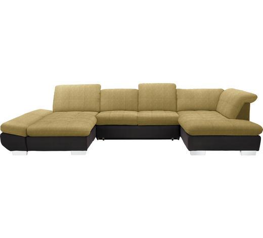 WOHNLANDSCHAFT in Textil Braun, Gelb  - Chromfarben/Gelb, Design, Kunststoff/Textil (204/350/211cm) - Xora