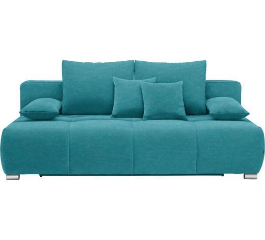 SCHLAFSOFA in Textil Petrol  - Chromfarben/Petrol, Design, Kunststoff/Textil (212/72-90/108cm) - Hom`in