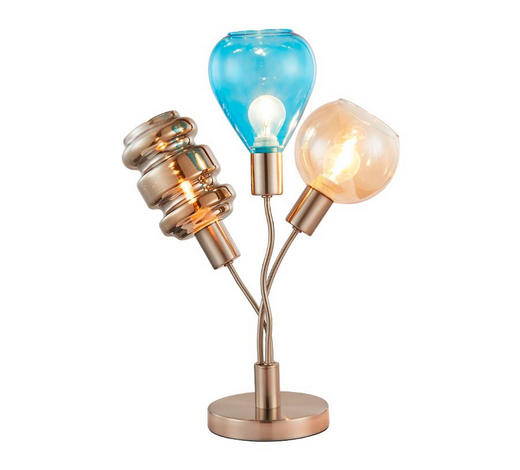TISCHLEUCHTE - Blau/Bernsteinfarben, Trend, Glas/Metall (35cm)