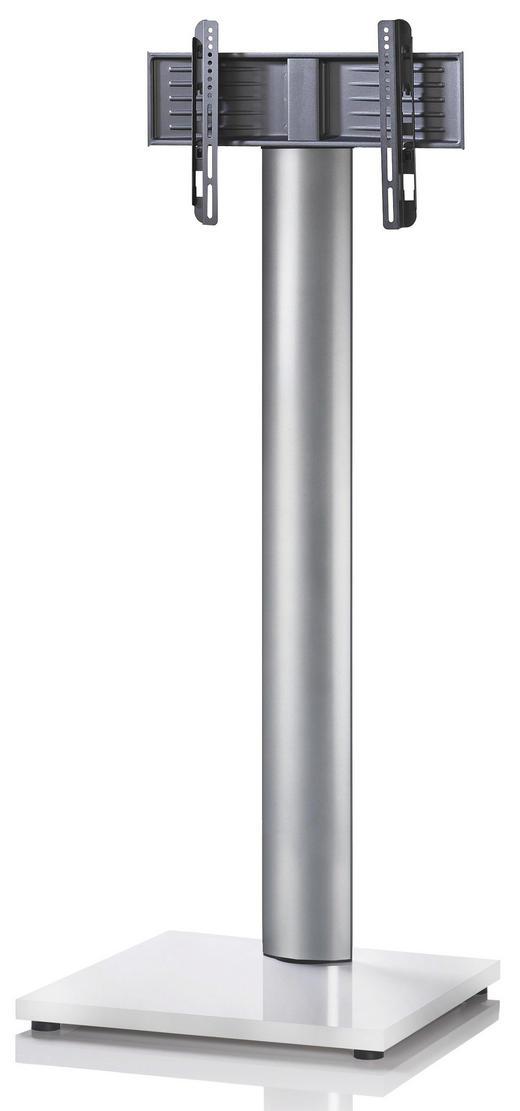 TV-RACK Metall Silberfarben, Weiß - Silberfarben/Weiß, KONVENTIONELL, Metall (68/174/60cm)