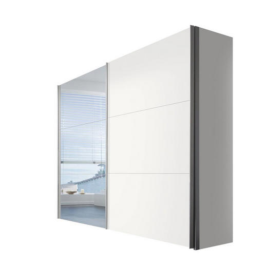SCHWEBETÜRENSCHRANK 2  -türig Weiß - Alufarben/Weiß, KONVENTIONELL, Glas/Holzwerkstoff (250/216/68cm) - Hom`in