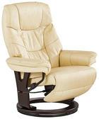 RELAXSESSEL Lederlook Kombination Echtleder/Lederlook Relaxfunktion - Dunkelbraun/Creme, Design, Leder/Holz (78/104-80/90-158cm) - CANTUS