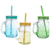 TRINKGLAS - Blau/Gelb, Basics, Glas (10,5/8/13cm)