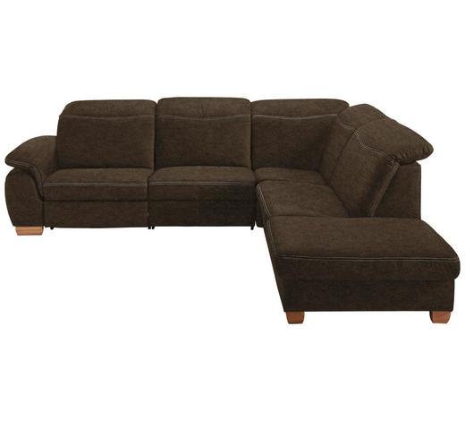 WOHNLANDSCHAFT Braun, Grau Mikrofaser  - Beige/Buchefarben, KONVENTIONELL, Textil (299/245cm) - Voleo