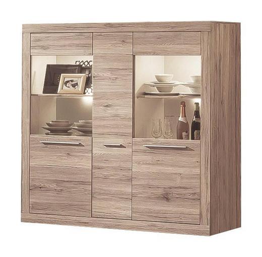 HIGHBOARD Eichefarben, Weiß - Eichefarben/Silberfarben, Design, Holzwerkstoff/Kunststoff (148/150/41cm) - Carryhome
