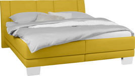 POLSTERBETT 180 cm   x 200 cm   in Textil Gelb - Chromfarben/Gelb, KONVENTIONELL, Holz/Kunststoff (180/200cm) - Xora