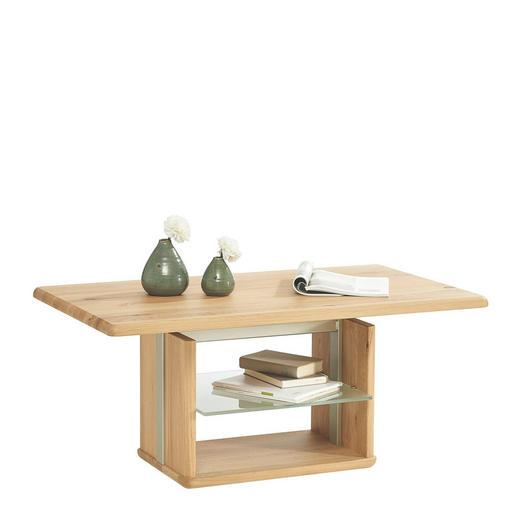 COUCHTISCH in Holz, Metall, Glas 110/65/50-69 cm - Eichefarben, Design, Glas/Holz (110/65/50-69cm)