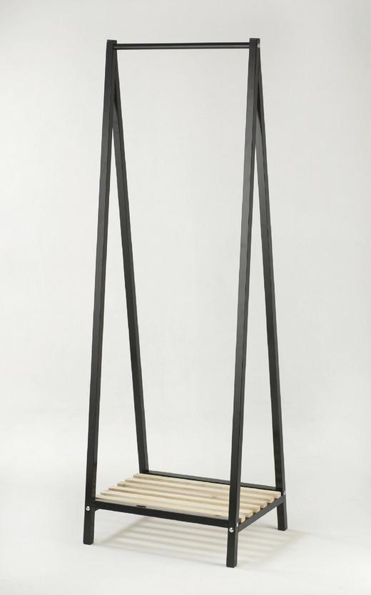 GARDEROBENSTÄNDER Kieferfarben, Schwarz - Schwarz/Kieferfarben, Design, Holz/Metall (53/162/42cm)
