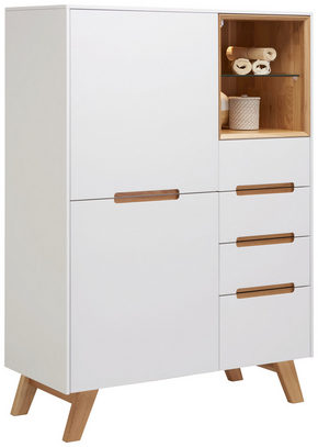 HIGHBOARD - vit/ekfärgad, Design, trä/glas (95/136/41cm) - Hom`in