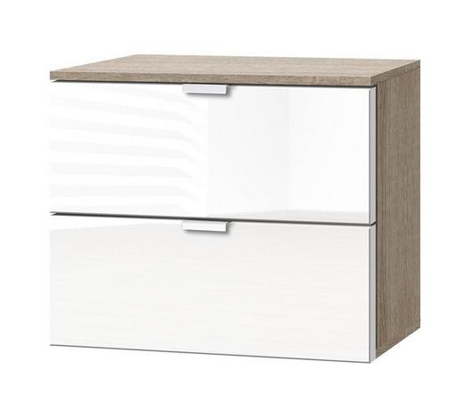 KOMMODE Weiß, Sonoma Eiche  - Alufarben/Weiß, KONVENTIONELL, Glas/Metall (50/42/42cm) - Carryhome