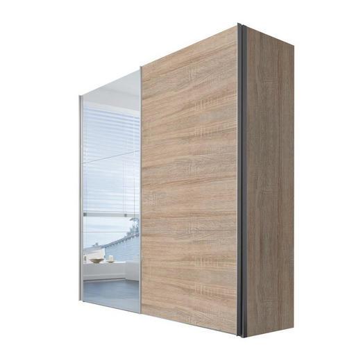 SCHWEBETÜRENSCHRANK 2  -türig Sonoma Eiche - Alufarben/Sonoma Eiche, KONVENTIONELL, Glas/Holzwerkstoff (200/216/68cm) - Hom`in