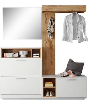 HALLINREDNING - vit/ekfärgad, Design, glas/träbaserade material (177/196/32cm) - Carryhome