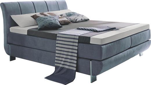 BOXSPRINGBETT Flachgewebe 180/200 cm  INKL. Matratze, Topper - Chromfarben/Hellgrau, Design, Textil/Metall (180/200cm) - Carryhome