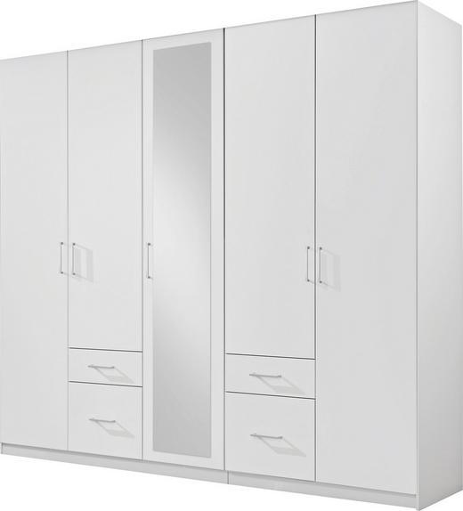 KLEIDERSCHRANK 5-türig Weiß - Alufarben/Weiß, Design, Glas/Holzwerkstoff (225/210/58cm) - Carryhome