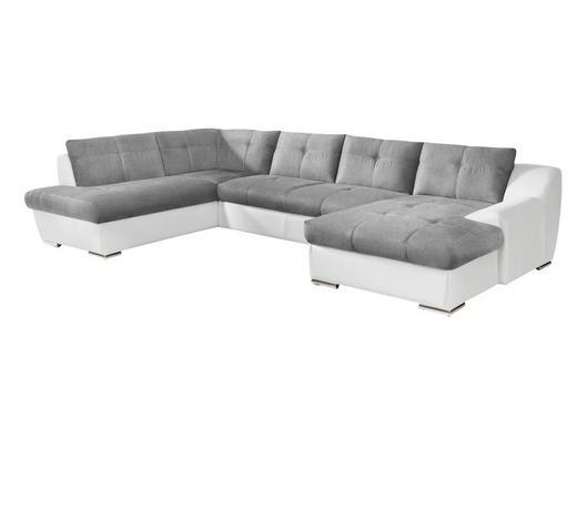 WOHNLANDSCHAFT Grau, Weiß Flachgewebe  - Chromfarben/Weiß, KONVENTIONELL, Textil/Metall (225/361cm) - Venda