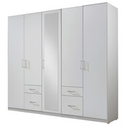 KLEIDERSCHRANK in Weiß - Silberfarben/Weiß, Design, Glas/Holzwerkstoff (225/210/58cm) - CARRYHOME