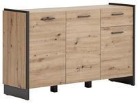 SIDEBOARD Grau, Eichefarben  - Eichefarben/Grau, Trend, Holzwerkstoff/Kunststoff (141,8/86,01/41,3cm) - Hom`in