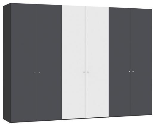 DREHTÜRENSCHRANK 6  -türig Anthrazit, Schwarz, Weiß - Anthrazit/Silberfarben, Design, Glas/Holzwerkstoff (303,1/220/58,5cm) - JUTZLER