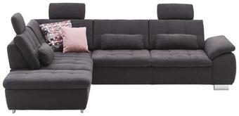 WOHNLANDSCHAFT in Textil Anthrazit - Chromfarben/Anthrazit, Design, Textil/Metall (237/299cm) - Beldomo Style