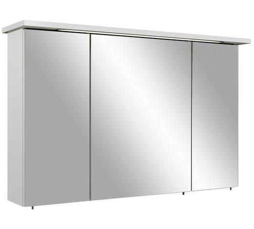 SPIEGELSCHRANK Weiß  - Chromfarben/Weiß, Basics, Glas/Holzwerkstoff (115/72/20cm) - Xora