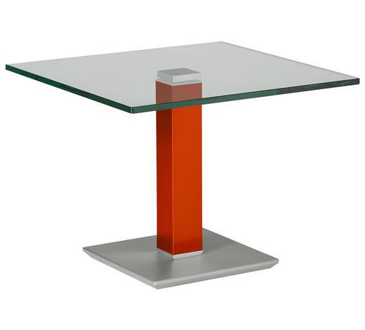 BEISTELLTISCH in Metall, Glas 60/60/46-65 cm - Edelstahlfarben/Rot, Design, Glas/Kunststoff (60/60/46-65cm)
