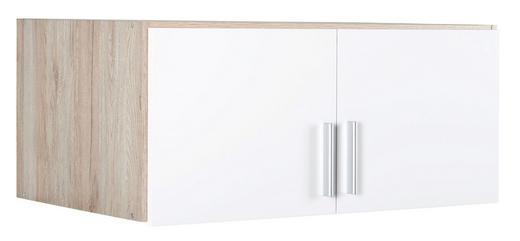 AUFSATZSCHRANK 91/39/54 cm Eichefarben, Weiß - Eichefarben/Alufarben, KONVENTIONELL, Kunststoff (91/39/54cm) - Carryhome