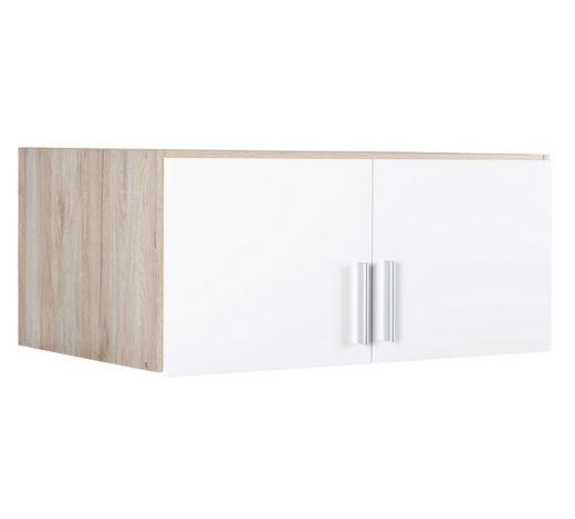 AUFSATZSCHRANK 91/39/54 cm Weiß, Eichefarben - Eichefarben/Alufarben, KONVENTIONELL, Kunststoff (91/39/54cm) - Carryhome