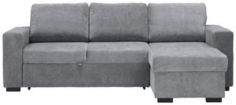 WOHNLANDSCHAFT in Textil Grau  - Schwarz/Grau, Design, Kunststoff/Textil (244/162cm) - Carryhome