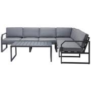 LOUNGEGARNITUR 16-teilig  266,5/207 cm - Dunkelgrau/Grau, Design, Textil/Metall (266,5/207cm) - Ambia Garden