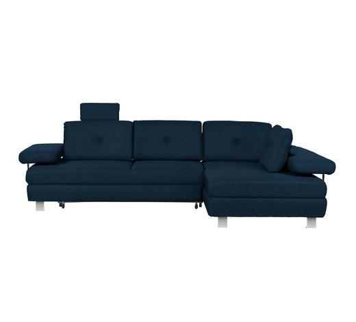 WOHNLANDSCHAFT in Textil Dunkelblau - Chromfarben/Dunkelblau, Design, Textil/Metall (288/190cm) - Hom`in