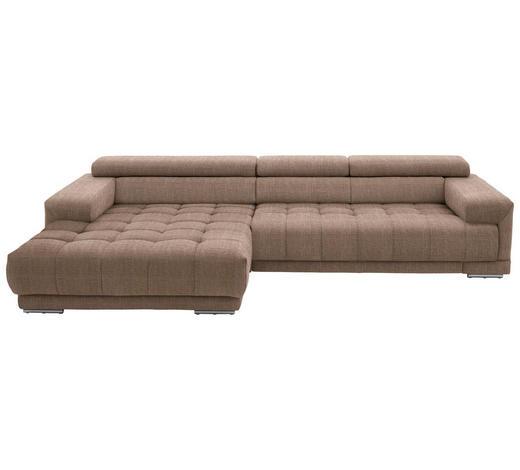 WOHNLANDSCHAFT in Textil Braun - Silberfarben/Braun, Design, Textil/Metall (190/335cm) - Beldomo Style