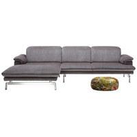 WOHNLANDSCHAFT Grau Rücken echt, Sitztiefenverstellung - Alufarben/Grau, KONVENTIONELL, Textil/Metall (197/294cm) - Joop!
