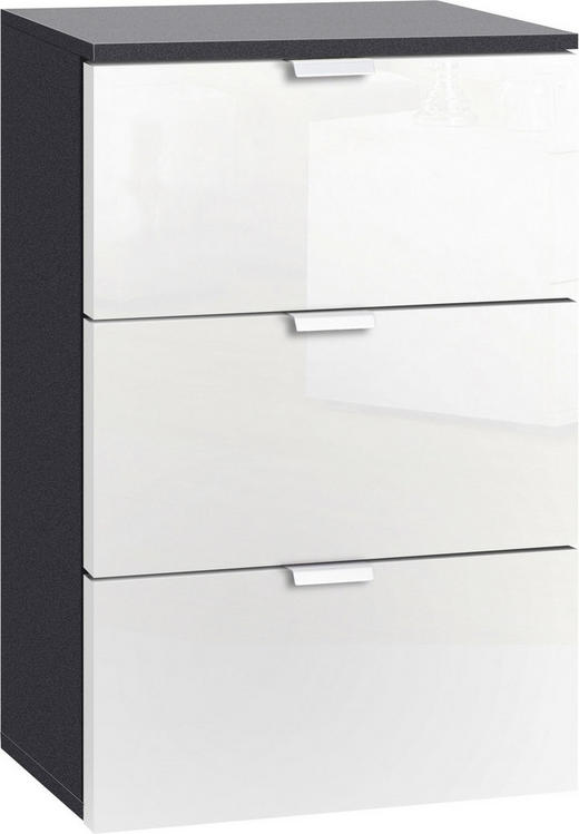 NACHTKÄSTCHEN in Graphitfarben, Weiß - Alufarben/Graphitfarben, Design, Holzwerkstoff/Metall (50/61/42cm) - Hom`in