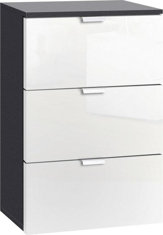 NACHTKÄSTCHEN lackiert Graphitfarben, Weiß - Graphitfarben/Alufarben, Design, Metall (40/61/42cm) - Carryhome
