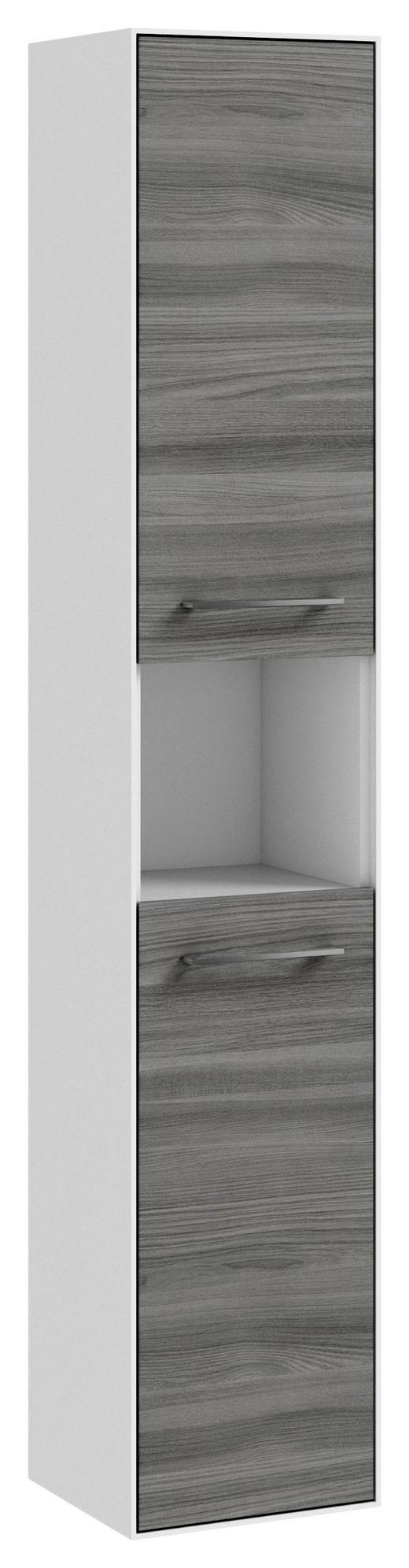 HOCHSCHRANK Grau - Chromfarben/Weiß, KONVENTIONELL, Glas/Holzwerkstoff (30,4/166,8/32,5cm) - Carryhome