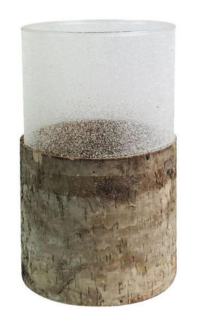 LJUSSTAKE - naturfärgad, Design, glas/trä (12,5/20cm) - Ambia Home