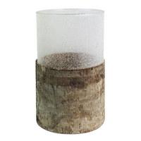 SVIJEĆNJAK - prirodne boje, Basics, staklo/drvo (12,5/20cm) - Ambia Home