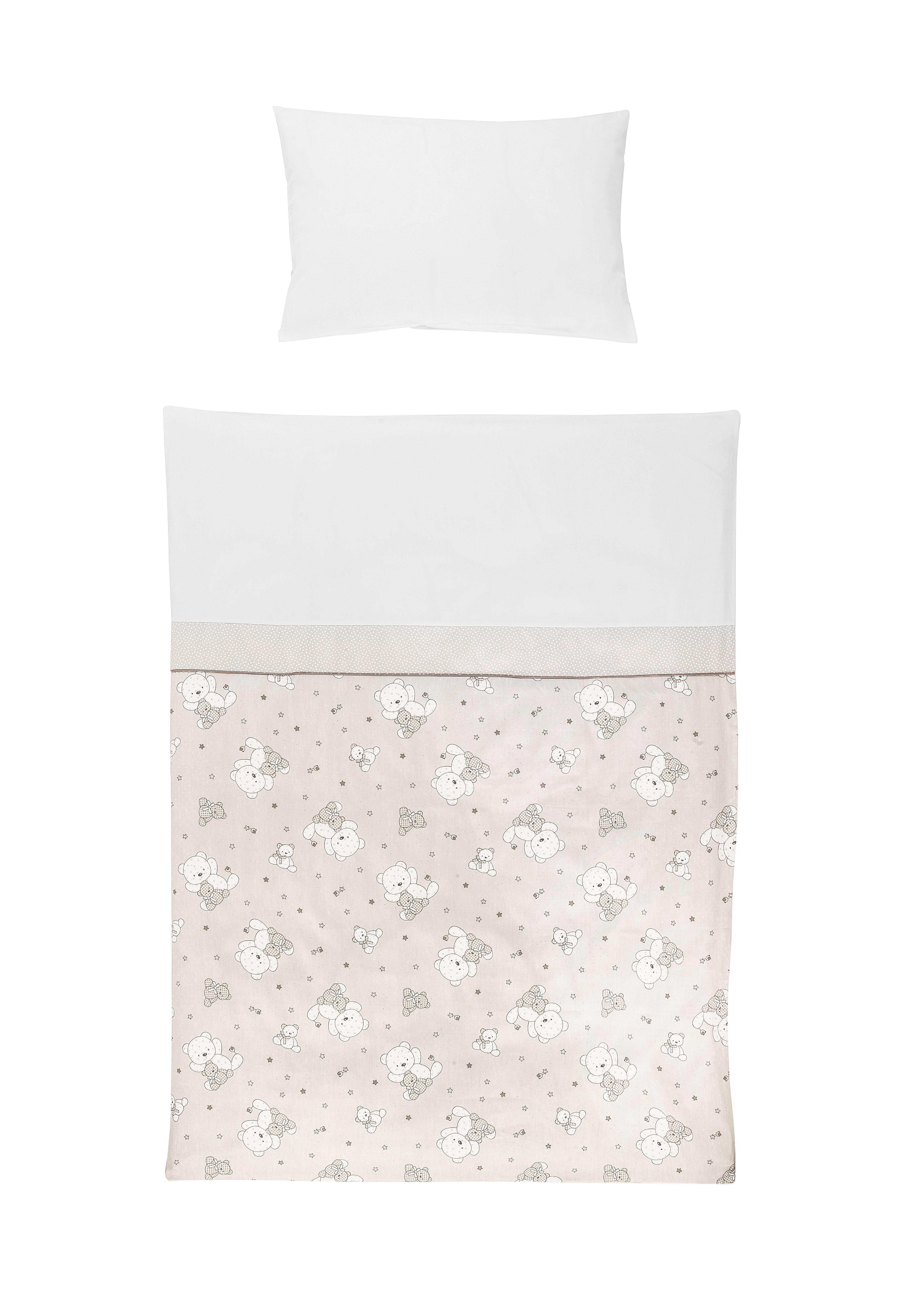 POSTELJINA ZA BEBE - bijela/taupe, Basics, tekstil (100/135cm) - My Baby Lou