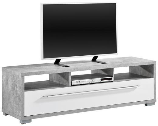 TV-ELEMENT Grau, Weiß - Silberfarben/Alufarben, Design, Kunststoff (141/42/40cm)