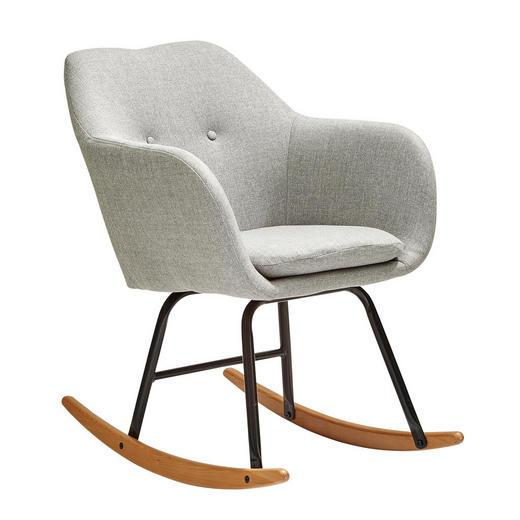 SCHAUKELSTUHL Flachgewebe Hellgrau - Eichefarben/Hellgrau, Design, Holz/Textil (57/81/68,5cm) - Ambia Home
