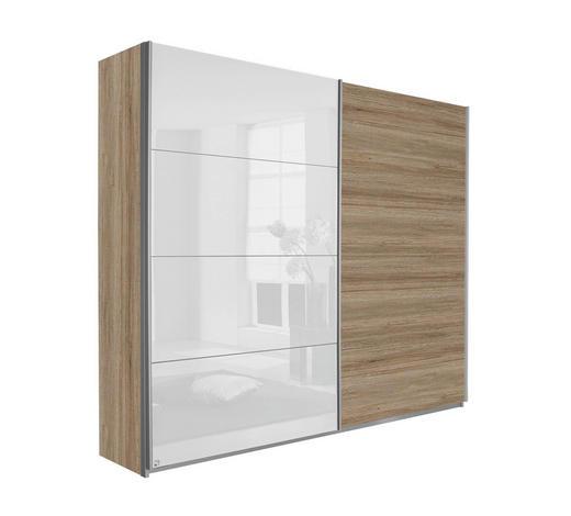 SCHWEBETÜRENSCHRANK 2-türig Weiß, Eichefarben - Eichefarben/Silberfarben, Design, Holzwerkstoff/Metall (181/210/62cm) - Carryhome