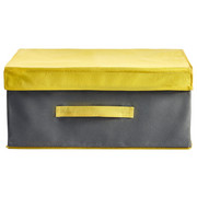 BOX MIT DECKEL - Grau, Textil (24/34/19cm)