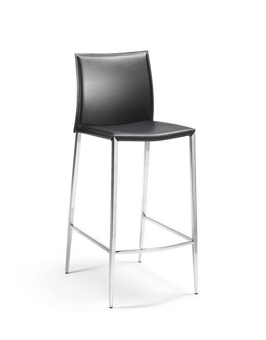 TRESENSTUHL in Leder, Metall Chromfarben, Schwarz - Chromfarben/Beige, Design, Leder/Metall (43/106/37cm)