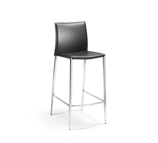 TRESENSTUHL in Metall, Leder Schwarz, Chromfarben - Chromfarben/Beige, Design, Leder/Metall (43/106/37cm)