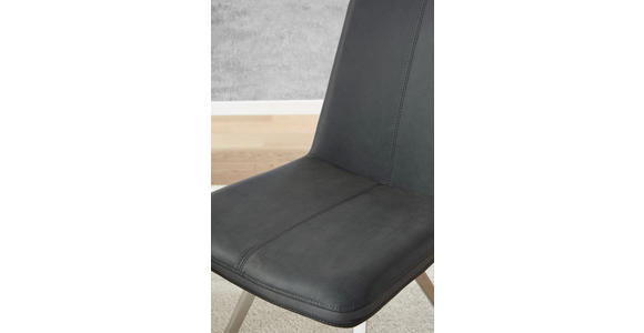 STUHL Anthrazit, Edelstahlfarben, Grau - Edelstahlfarben/Anthrazit, Design, Textil/Metall (45/92/63cm) - Voleo