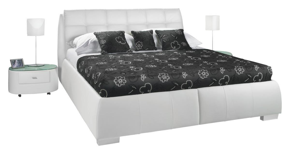 POLSTERBETT 180 cm   x 200 cm   in Leder Weiß - Chromfarben/Weiß, Design, Leder/Kunststoff (180/200cm) - ADA AUSTRIA