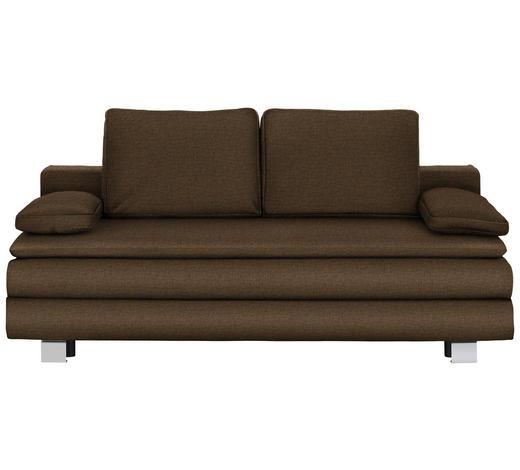 BOXSPRINGSOFA in Textil Braun, Orange  - Chromfarben/Braun, Design, Textil/Metall (204/95/100cm)
