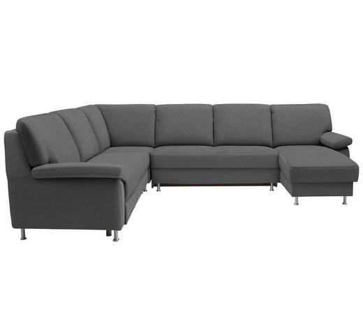 WOHNLANDSCHAFT in Textil Grau - Grau, KONVENTIONELL, Textil/Metall (250/313/155cm) - Ada Austria